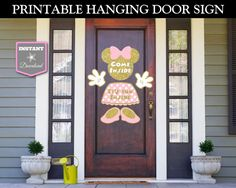 Glitter Pink and Gold Minnie Mouse Birthday Party or Baby Shower Ideas: Printable Hanging Door Come Inside, It's Fun Inside Welcome Sign. Use promo code PINTEREST10 to save 10% off your purchase. Lots of coordinating items available.