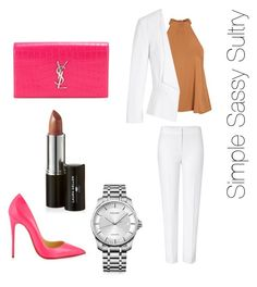 """""""Office to Happy Hour"""" by simplesassysultry on Polyvore featuring Glamorous, White House Black Market, ESCADA, Christian Louboutin, Yves Saint Laurent, Calvin Klein and Laura Geller"""