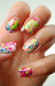 Another pretty paint splatter abstract nail art design. This works best with a white base coat as you can simply add any color on top for the paint splatter effect.