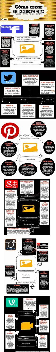 Infografía con trucos para publicar posts perfectos en redes sociales #RRSS