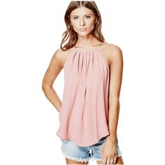 GUESS Rae Pintuck Tank (€22) ❤ liked on Polyvore featuring tops, dusty pink multi, pink tank, guess tanks, pintuck top, guess? tops and guess tank top