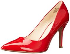 Nine West Women's Flax Synthetic Dress Pump, Red Synthetic, 6.5 M US