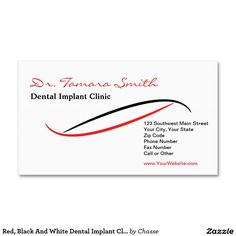 Red, Black And White Dental Implant Clinic Office Double-Sided Standard Business Cards (Pack Of 100)