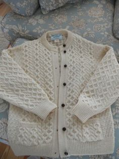 Aran Heritage Handmade Ivory Wool Cable Knit Button Dwn Cardigan Ireland | eBay