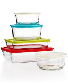 Pyrex 10 Piece Simply Store Set With Colored Lids Bakeware Kitchen Macy S Bridal And Wedding Registry With Images Pyrex Set Pyrex