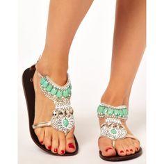 ASOS FELICITY Embellished Flat Sandals ($63.18)