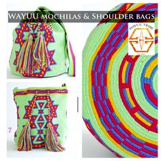 These bags are known as the Susu bag to the Wayuu people. The average bag takes days to hand weave. All bags are Handmade. Wayuu people are use bight different colors and patterns to tell the story of the weaver. Tapestry Bag, Tapestry Crochet, Diy Fashion Bags, Weaving Patterns, Crochet Patterns, Diy Crochet Bag, Mochila Crochet, Nice Beach, Yarn Bag