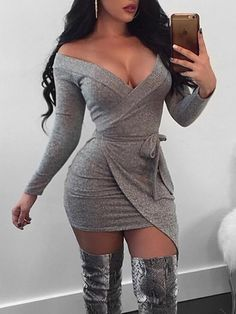 2019 - Shop Mini Dresses Knit Off Shoulder Wrapped Irregular Mini Dress Best Casual Outfits, Sexy Outfits, Sexy Dresses, Cute Dresses, Girl Outfits, Fashion Dresses, Formal Dresses, Frock Design, Designer Party Dresses