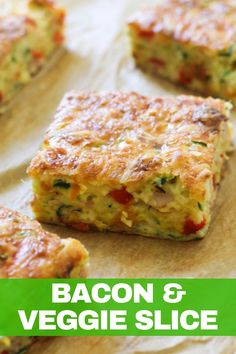 This quick, easy and healthy Zucchini and Bacon Slice is so versatile. Meal prep a batch for the week and use it for breakfast, lunch or dinner! This zucchini slice with bacon is great served hot or cold, so you can also pop it into kids lunch boxes. Healthy Zucchini, Zucchini Slice, Bacon Zucchini, Zuchinni Recipes, Vegetable Slice, Vegetable Recipes, Vegetable Bake, Quiche Recipes, Brunch Recipes