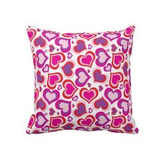 "Valentines Day Hearts Pattern. Throw Pillow 20"" x 20""."