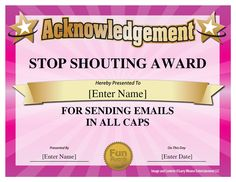 Funny office awards, ideas and printable certificates for coworkers and staff. These funny office superlatives are silly, humorous and fun. Fun Awards For Employees, Employee Awards, Funny Certificates, Award Certificates, Printable Certificates, Certificate Templates, Office Humor, Work Humor, Funny Office