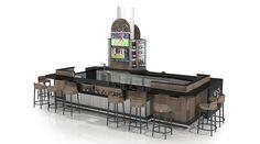 العرف تصميم التجزئة | الأكشاك، ومحلات فاخرة، RMU، وتحت عنوان، وطعام الشارع creationsgr.com Kiosk Design, Retail Design, Retail Merchandising, Retail Experience, Common Area, Luxury Shop, Willis Tower, Street Food, Shops