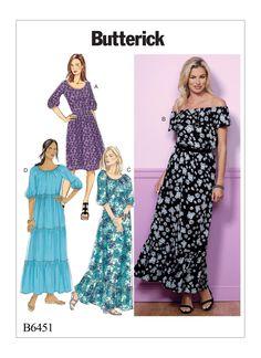 Butterick Misses' Gathered, Blouson Dresses 6451
