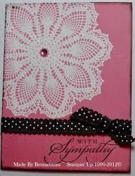 by bensarmom - Cards and Paper Crafts at Splitcoaststampers. Uses Stampin Up's Hello Doily stamp embossed in white on regal rose cardstock. Valentine Cards To Make, Ribbon Cards, Hand Stamped Cards, Stamping Up Cards, Hello Dolly, Sympathy Cards, Cute Cards, Greeting Cards Handmade, Scrapbook Cards