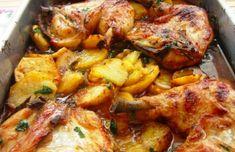 This amazing Portuguese roasted chicken with potatoes recipe (receita de frango assado com batatas) makes a delicious meal for two people. Potato Recipes, Fish Recipes, Beef Recipes, Cooking Recipes, Game Recipes, Drink Recipes, Chicken Steak, Baked Chicken, Stuffed Chicken