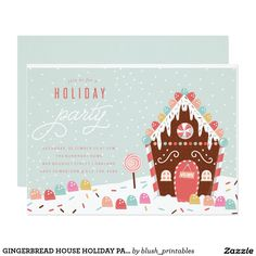 GINGERBREAD HOUSE HOLIDAY PARTY INVITATION