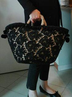 Posted by Brusilla Handmade Handbags, Handmade Bags, My Bags, Purses And Bags, Lace Bag, Diy Sac, Ethnic Bag, Diy Tote Bag, Boho Bags