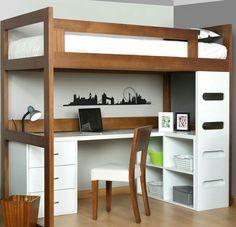 Ideas de camas puentes / loft para espacios reducidos. Habitaciones juveniles. #decoracionhabitacionjuveniles