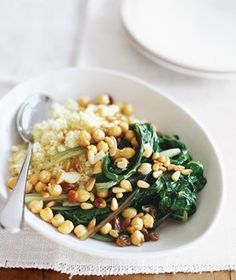 Swiss chard with chickpeas and couscous. This was super easy and ...