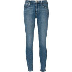 FRAME Denim Le High Skinny Jeans ($220) ❤ liked on Polyvore featuring jeans, pants, bottoms, denim, kirna zabete, skinny leg jeans, blue skinny jeans, skinny jeans, denim skinny jeans and blue jeans