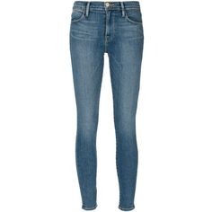 Frame Denim 'Le High Skinny' jeans ($325) ❤ liked on Polyvore featuring jeans, pants, blue, cut skinny jeans, blue jeans, skinny leg jeans, frame denim and skinny fit jeans