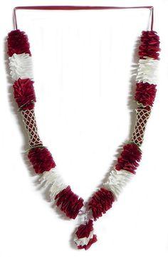 Maroon and White Ribbon Garland with Beads (Silk Ribbon)
