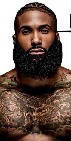 This is fine piece of stuff! I Love Beards, Black Men Beards, Handsome Black Men, Awesome Beards, Black Men Tattoos, Black Man, Beard Game, Epic Beard, Sexy Beard