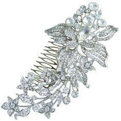 Sindary Wedding Headpiece 5.9' Bridesmaid Bridal Long Flower Hair Comb Silver Tone Clear Rhinestone Crystal HZ4706 * Check out the image by visiting the link.