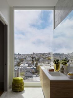 See inside the new Pacific Heights high-rise with interior by Jay Jeffers, The Pacific, that is selling for record-breaking prices. Pacific Heights, Modern Bathroom Decor, Window View, Jay, Windows, Interior Design, Interiors, Outdoor, Nest Design