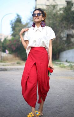 Red dhoti pants with white shirt