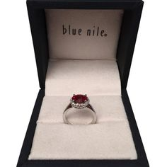 Pre-owned Blue Nile Garnet And Diamond Ring.  Item Number 44922 ($288) ❤ liked on Polyvore featuring jewelry, rings, accessories, garnet, 14k ring, diamond jewelry, pre owned jewelry, diamond jewellery and preowned rings