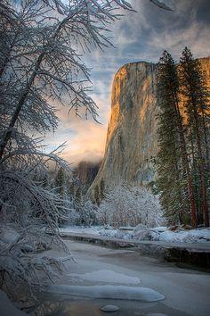 Winter in El Capitan from Cathedral Beach, Yosemite National Park, California #travel #california #usa