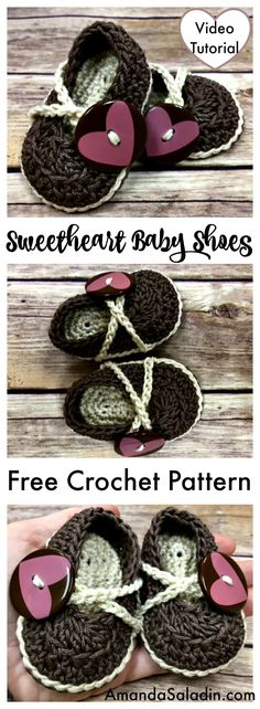 Crochet up the sweetest pair of baby booties for a little one you love with the free pattern for Sweetheart Baby Shoes by Amanda Saladin.