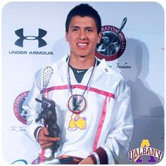 """""""It feels good, I am proud of my team, proud of everything they have helped me with these four years, and everything we have accomplished at UAlbany. That is what matters to me, is that the name 2015 UAlbany Lacrosse Team is on the trophy."""" – Lyle Thompson on winning his 2nd consecutive Tewaaraton award for the most outstanding American college lacrosse player. #Tewaaraton #TewaaratonAward #Lacrosse #LAX #NCAA #NCAALax #UAlbany #GoGreatDanes"""