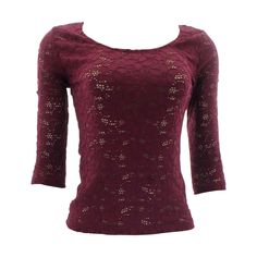 Ambiance - Women's 3/4 Sleeve Full Lace Tops - Burgundy