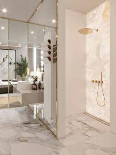Luxury Bathroom Design Ideas With Best Marble Tile Luxury Master Bathrooms, Modern Master Bathroom, Modern Bathroom Design, Dream Bathrooms, Bathroom Interior Design, Decor Interior Design, Interior Design Living Room, Luxurious Bathrooms, Master Baths