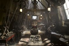 crimson peak set design 007 - former attic nursery, where the Sharpe siblings spent their childhood, is now Thomas's workshop.
