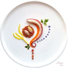 Octopus, Carrots, Onion and Ground Brisè, Bay Leaf Aromas and Red Garlic