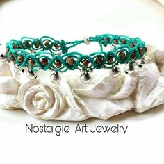 Macrame  Anklet  with Beads and Silver bell's in turquoise thread color,  Women  Foot  Jewelry,  Adjustable  Anklet Jewelry,  Beach Anklet,