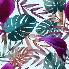 Fototapeta Ptak, liść, druk - tropikalne kwiaty, liście, jungle bird of paradise kwiat. ▪ Nasze życie to ciągłe zmiany. Odmień swoje wnętrza w mgnieniu oka z Pixers™ i odkryj radość ze zmian!