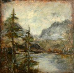 "Michaelle Peters Charlwood  www.michaellepc.com  'Jenny Lake Mist' - encaustic, oil on panel, 12x12"""