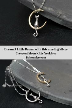 Whimsical genuine 925 cute sterling silver cat sitting on a crescent moon pendant necklace.  Available in all sterling silver and sterling silver and gold accent.  Buy one today for the holiday season!  bohoneko.com