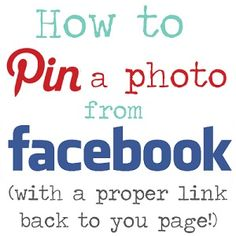 How to Pin a photo from Facebook (with a PROPER working link back to your page!)