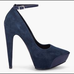 """FINAL PRICE Theysken's Theory -navy blue suede Pointed toe Navy blue stunners with leather stripe down the back of the shoe. The front also has a bit of leather as seen in pic above⬆️. 4-5"""" heel. Black dust bag and ankle straps included. I've only worn these shoes 2x. ❌no trades. ❌no PayPal. ❌no negotiating through comments. PRICE FIRM. Theysken's Theory Shoes Heels"""