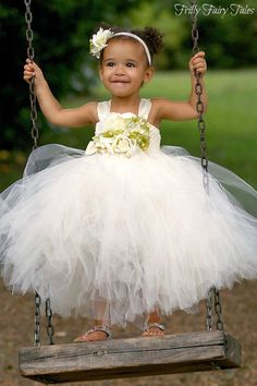 Ivory and Green Flower Girl Dress by FrillyFairyTales -