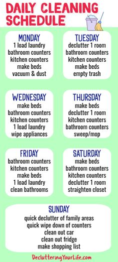 Cleaning Schedules and Checklists - Daily cleaning schedule for weekly housekeeping chores from Decluttering Your Life Household Cleaning Schedule, Deep Cleaning Checklist, Cleaning Schedule Printable, Daily Cleaning, House Cleaning Tips, Cleaning Schedules, Cleaning Hacks, Cleaning Calendar, Organizing Tips
