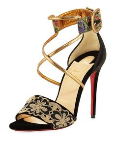 CHRISTIAN LOUBOUTIN SABINA VELVET RED SOLE SANDAL. #christianlouboutin #shoes #