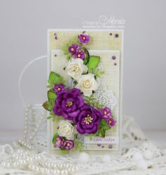 Hello flower lovers :) Today I have for you a birthday card with Wild Orchid Crafts flowers. I used gorgeous, rich coloured magnolias. Flower Cards, Paper Flowers, Card Making Designs, Shabby Chic Cards, Wild Orchid, Marianne Design, Vintage Dior, Paper Cards, Craft Items