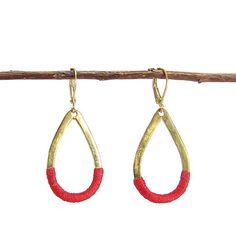 Thread Wrapped Earrings: Red/Brass - India