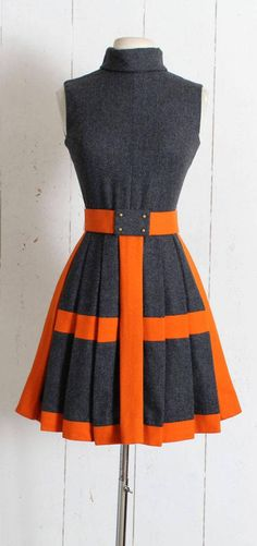 "➳ Vintage 1960s Dress Darling burnt orange and charcoal gray wool dress. Pleated skirt, cowl neck, back zipper, detachable hook/snap close belt. By 18-21 shops. Excellent condition - no flaws. Fits like XS/S. Length 35.5"" Bodice 16"" Bust 34-36"" Waist 25-26"" Belt 26 (can be"